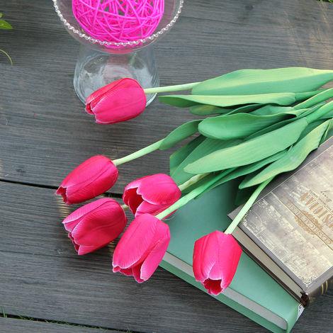 Ramo de tulipán de seda artificial para la decoración casera del banquete de boda