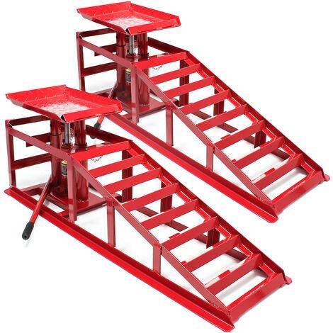 Rampa de carga Set 2x Rampas con gato hidráulico coches integrado 2000kg Taller Garaje Mantenimiento