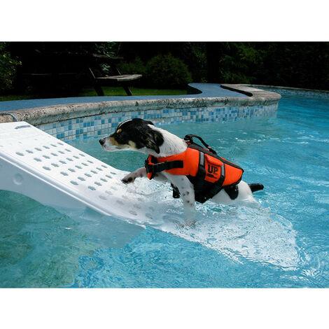 Rampa de piscina para perros - blanca