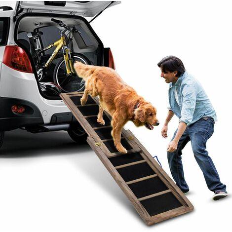 Rampa per Cane, Scala per Cani per Auto in Legno Estensibile ed Antiscivolo, capacità di Carico Fino a 100 kg, 166 x 43 cm