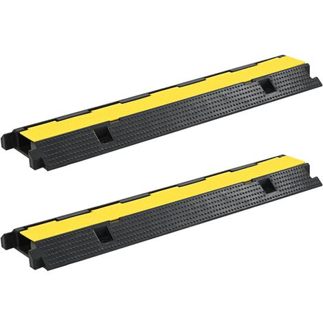 Rampas de protección de cable 2 piezas 1 canal goma 100 cm