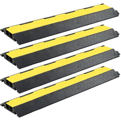 Rampas de protección de cable 4 piezas 2 canales goma 101,5 cm