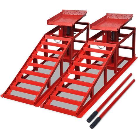 Rampas para reparar coches 2 unidades acero rojo