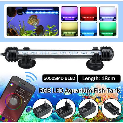 "main image of ""Rampe Aquarium bluetooth 18cm 9 LED RGB submersible étanche 5050 SMD EU 220V"""