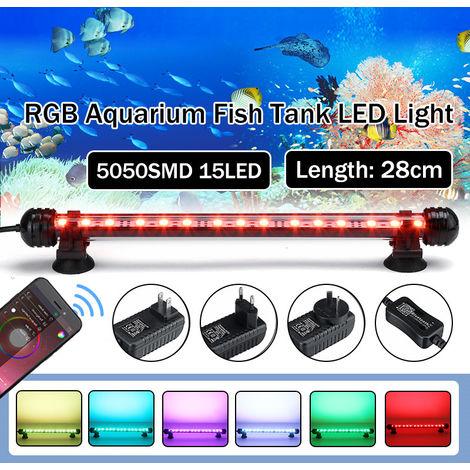 "main image of ""Rampe Aquarium bluetooth 28cm 15 LED RGB submersible étanche 5050 SMD EU 220V"""