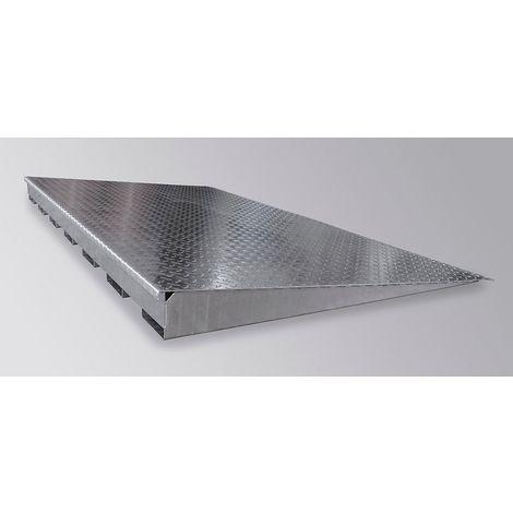 Rampe d'accès galvanisée pour cuve plate en acier - profondeur 1150 mm, charge par essieu 500 kg - largeur 1950 mm