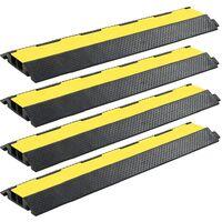 Rampe de protection de câble 4 pcs 2 canaux caoutchouc 101,5 cm