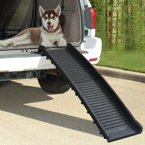 Rampe de voiture pliable pour chiens Noir 155,5x40x15,5 cm