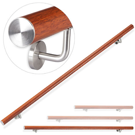 Rampe d\'escalier, 200 cm, Main courante escalier, Aluminium, Aspect chêne intérieur extérieur, Ø 42mm, brun