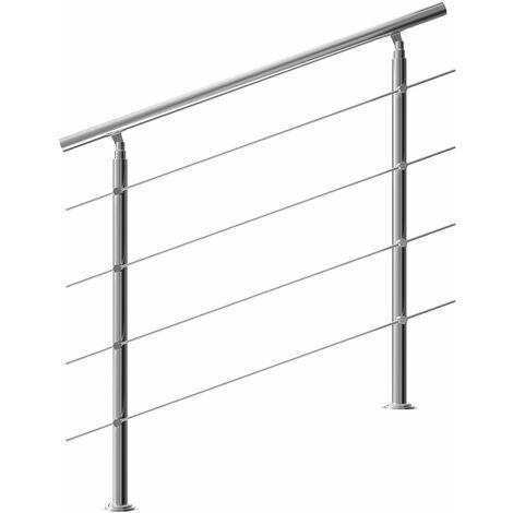 "main image of ""Rampe d'escalier 80/100/120/150/160 cm acier inoxydable main courante balustrade"""