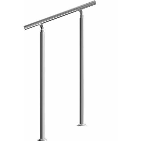 Rampe d'escalier 80/100/120/150/160 cm acier inoxydable main courante balustrade