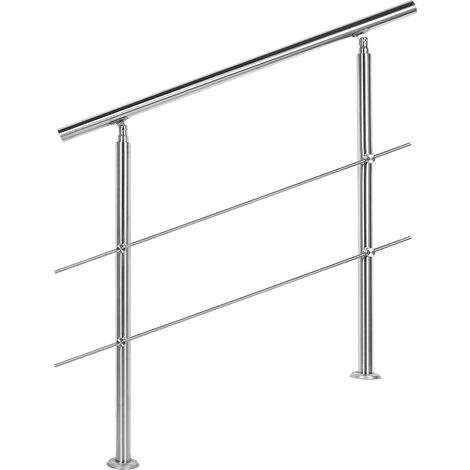 Rampe d'escalier Acier affiné V2A 2 Tiges 80 cm Rambarde Main Courante Balustrade