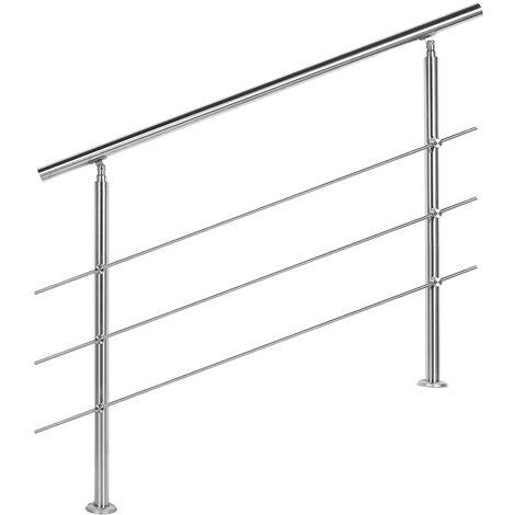 Rampe d'escalier Acier affiné V2A 3 Tiges 120 cm Rambarde Main Courante Balustrade
