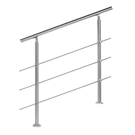 Rampe d'escalier Acier affiné V2A 3 Tiges 80 cm Rambarde Main Courante Balustrade