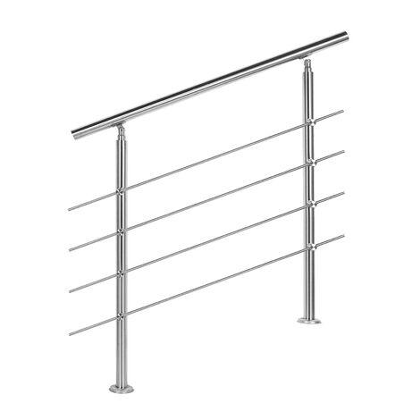 Rampe d'escalier Acier affiné V2A 4 Tiges 80 cm Rambarde Main Courante Balustrade