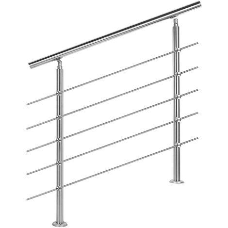 Rampe d'escalier Acier affiné V2A 5 Tiges 100 cm Rambarde Main Courante Balustrade
