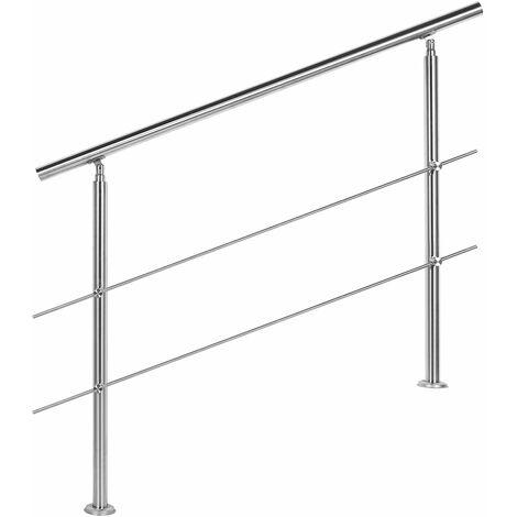 Rampe d'escalier Acier inoxydable 2 Tiges 120 cm Rambarde Main Courante Balustrade