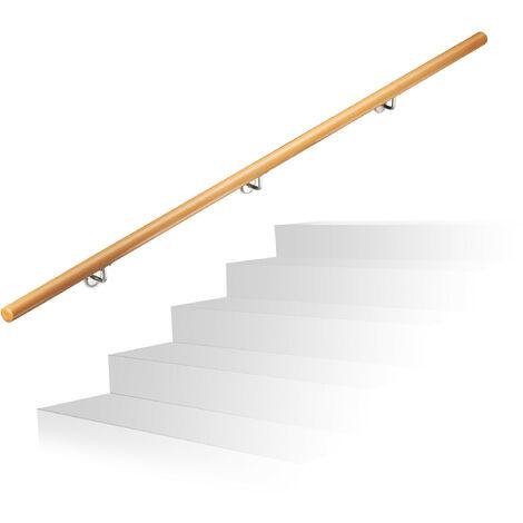 Rampe d'escalier bois, Main courante escalier bois 2000 mm/200 cm/2 m mural, 42 cm diamètre, nature