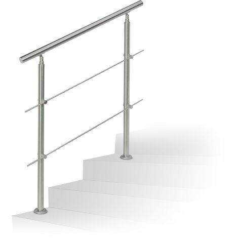 Rampe d'escalier en inox pour extérieur 1,0 de long 2 poteaux et 2 tringles, argenté