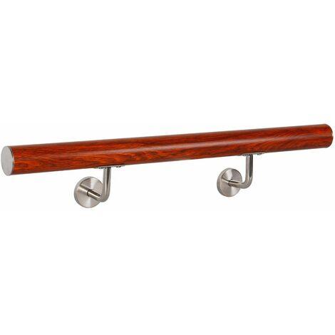 Rampe d'escalier Main Courante Rampe Escalier Barre Appui Aluminium Bois V2Aox 80 cm