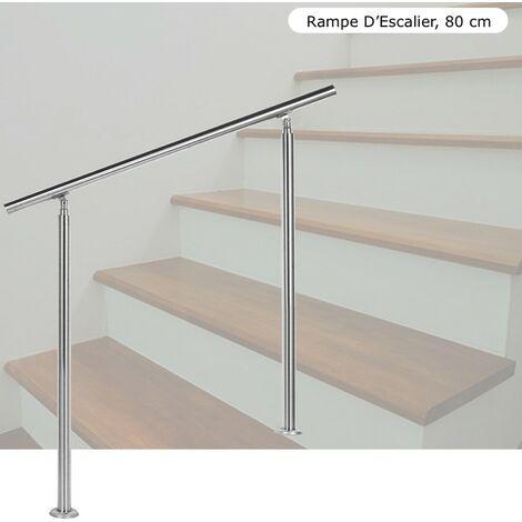 Rampe D'Escalier, Main Courante, Sur Pied, 80 cm, Acier Inoxydable - Acier