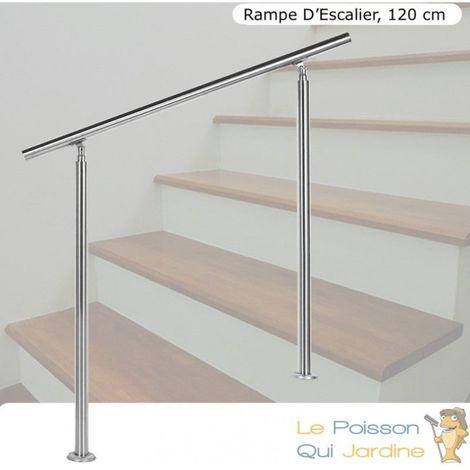Rampe D'Escalier, Rambarde, Sur Pied, 120 cm, En Acier Inoxydable - Acier