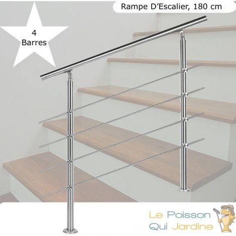 Rampe D'Escalier, Rambarde, Sur Pied, 180 cm, Acier Inoxydable, 4 Barres - Acier
