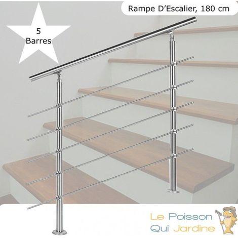 Rampe D'Escalier, Rambarde, Sur Pied, 180 cm, Acier Inoxydable, 5 Barres - Acier