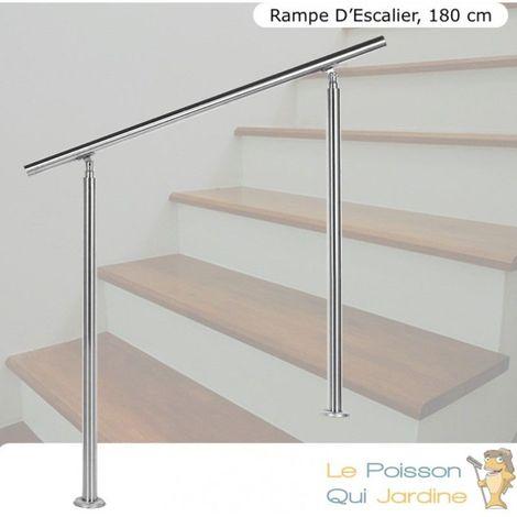 Rampe D'Escalier, Rambarde Sur Pied, 180 cm, En Acier Inoxydable - Acier