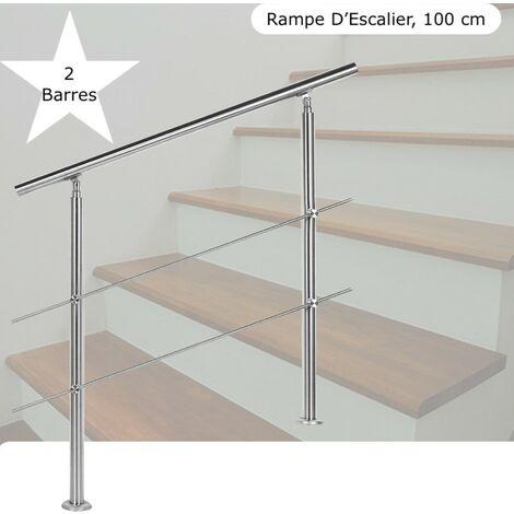 Rampe D'Escalier Sur Pied, 100 cm, En Acier Inoxydable, 2 Barres - Acier