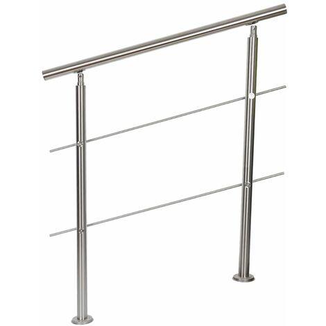 Rampe D'Escalier Sur Pied, 100 cm, En Acier Inoxydable, 2 Barres - Argent