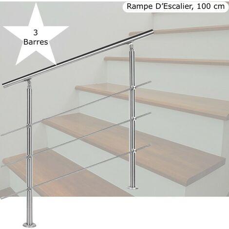 Rampe D'Escalier Sur Pied, 100 cm, En Acier Inoxydable, 3 barres