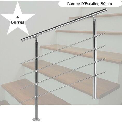 Rampe D'Escalier Sur Pied, 80 cm, Acier Inoxydable, 4 Barres - Acier