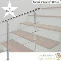 Rampe D'Escalier Sur Pieds 160 cm En Acier Inoxydable 3 barres