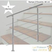 Rampe D'Escalier Sur Pieds 80 cm En Acier Inoxydable inox 5 barres.