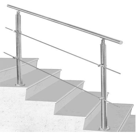 Rampe Escalier Acier Affiné V2A 2 Tiges 100 cm Rambarde Main Courante Balustrade