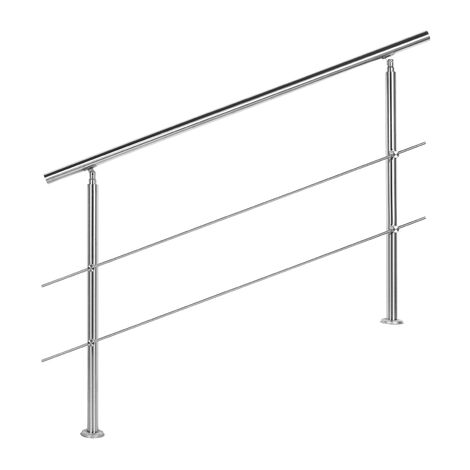 Rampe escalier Acier affiné V2A 2 Tiges 140cm Rambarde Main Courante Balustrade