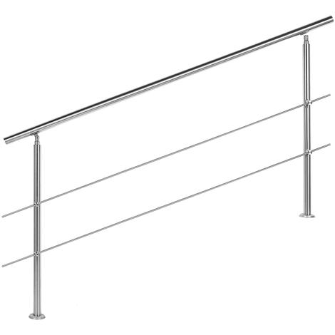 Rampe escalier Acier affiné V2A 2 Tiges 180cm Rambarde Main Courante Balustrade