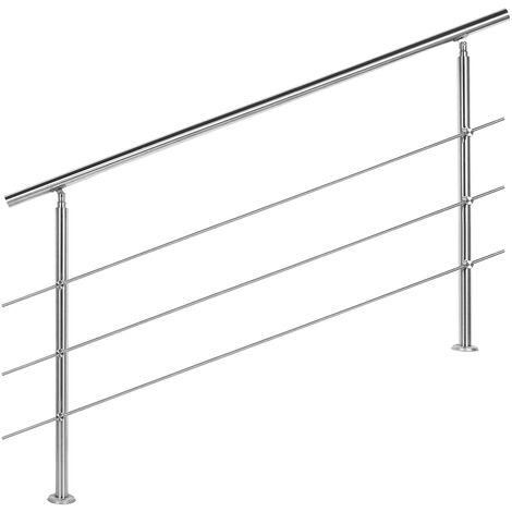 Rampe escalier Acier affiné V2A 3 Tiges 160cm Rambarde Main Courante Balustrade