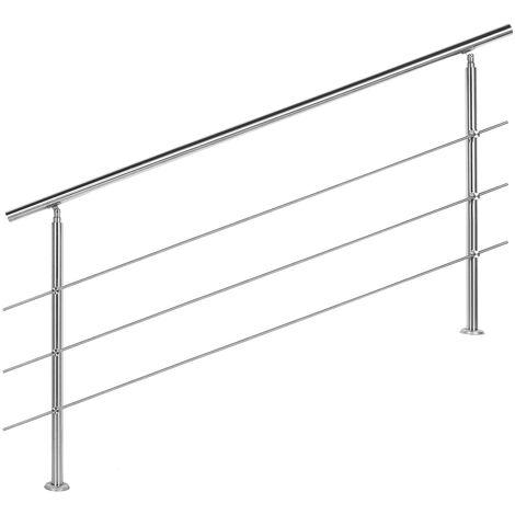 Rampe escalier Acier affiné V2A 3 Tiges 180cm Rambarde Main Courante Balustrade