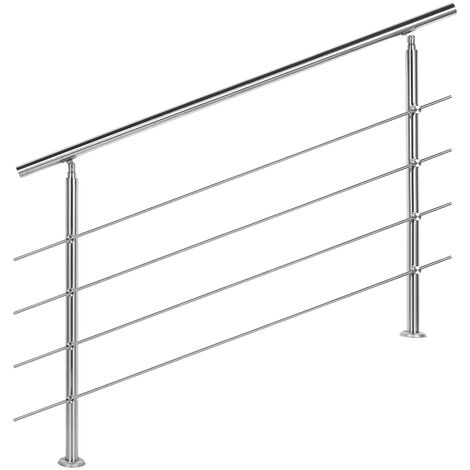 Rampe escalier Acier affiné V2A 4 Tiges 140cm Rambarde Main Courante Balustrade