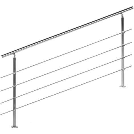 Rampe escalier Acier affiné V2A 4 Tiges 180cm Rambarde Main Courante Balustrade