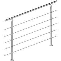 Rampe escalier Acier affiné V2A 5 Tiges 120cm Rambarde Main Courante Balustrade
