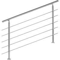 Rampe escalier Acier affiné V2A 5 Tiges 140cm Rambarde Main Courante Balustrade
