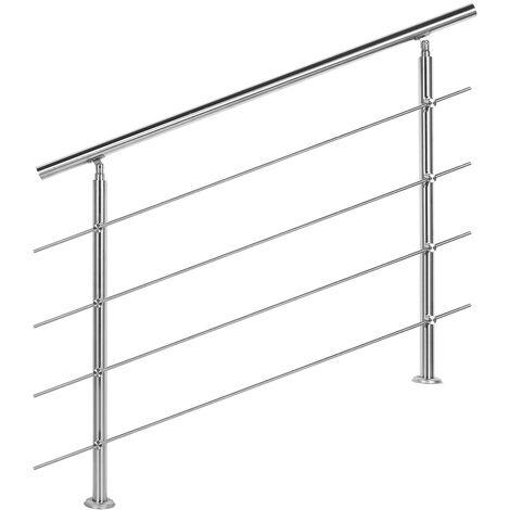 Rampe escalier Acier affiné V2A 4 Tiges 120cm Rambarde Main Courante Balustrade