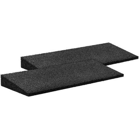 Rampes de trottoir en caoutchouc 2 pcs Noir 50x20x1-4,3 cm7465-A
