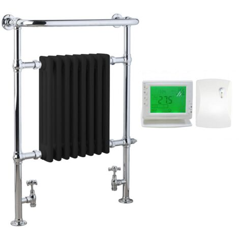 RAMSEY Traditional Victorian Heated Towel Rail - Electric + Wireless Timer, Thermostat, 76.5cm, Black