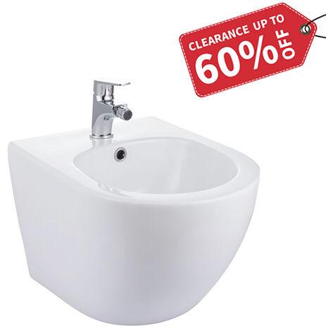 Randlos-Tiefspüler-Hänge-WC&Bidet+ Bidetarmatur mit Überlaufschutz, Spülrandlos zur hygienischen Reinigung des Intimbereichs, weiß