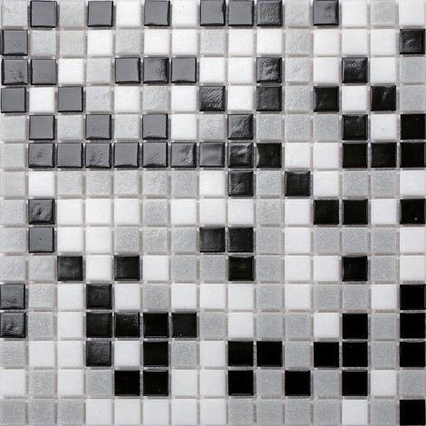 Random Mix Black Grey White Vitreous Glass Mosaic Tiles MT0107