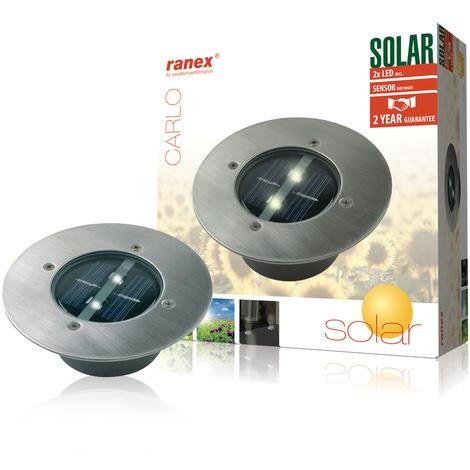 Ranex Foco solar redondo 0,12 W plateado 5000.197